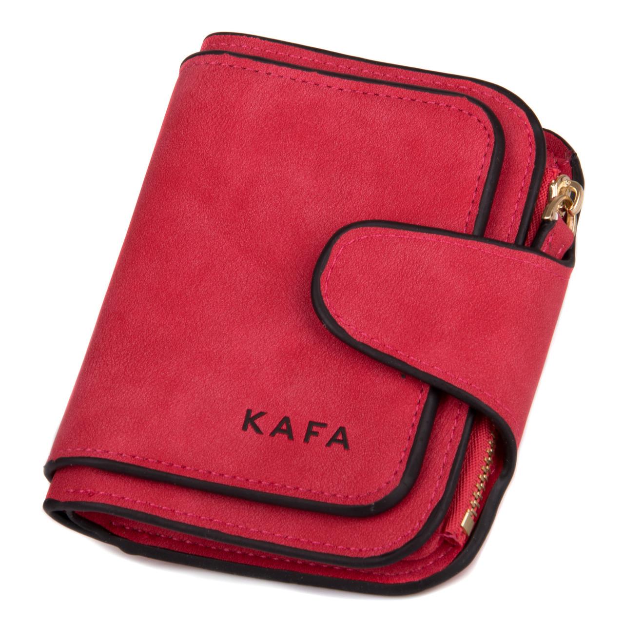 5d58dd3062d6 Кошелек женский компактный Kafa велюр красный (3202 red) - MODNA FISHKA в  Харькове