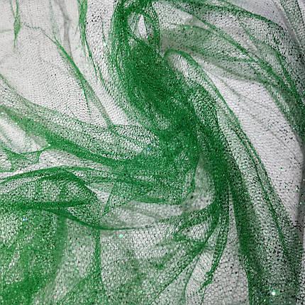 Ткань фатин с напылением зеленый, фото 2