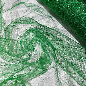 Ткань фатин с напылением зеленый