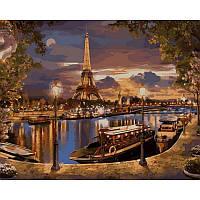 "Картина по номерам ""Париж. Вечер"" 40х50см, С Коробкой"
