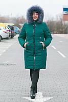 Женская зимняя куртка пальто изумруд р.50-р.52