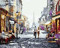 Раскраски по номерам Летний вечер в Париже 40х50см, С Коробкой