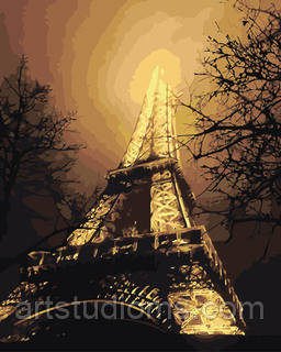 Картины по цифрам Ночной вид на Эйфелеву башню 40х50см, Без Коробки