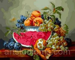 Раскраски на холсте Натюрморт с арбузом и виноградом 40х50см, С Коробкой