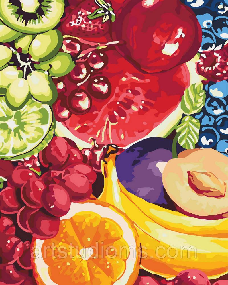 Раскраска для взрослых и детей Аппетитные фрукты 40 х 50см , С Коробкой