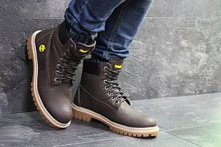 Мужские зимние ботинки Timberland,Тимберленд,на меху,темно коричневые