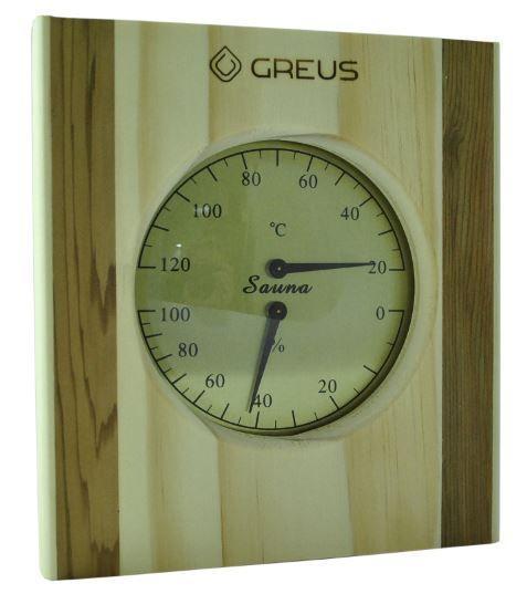 Термо-гигрометр Greus 16х14,5 сосна/кедр