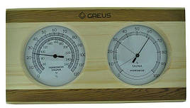 Термо-гигрометр Greus 26х14 сосна/кедр