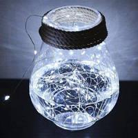 Гирлянда светодиодная нить Роса, Капли росы на проволоке 3 м, 30 LED на батарейках, белый цвет