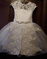 Детское нарядное бальное платье гипюр фатин со стеклярусом