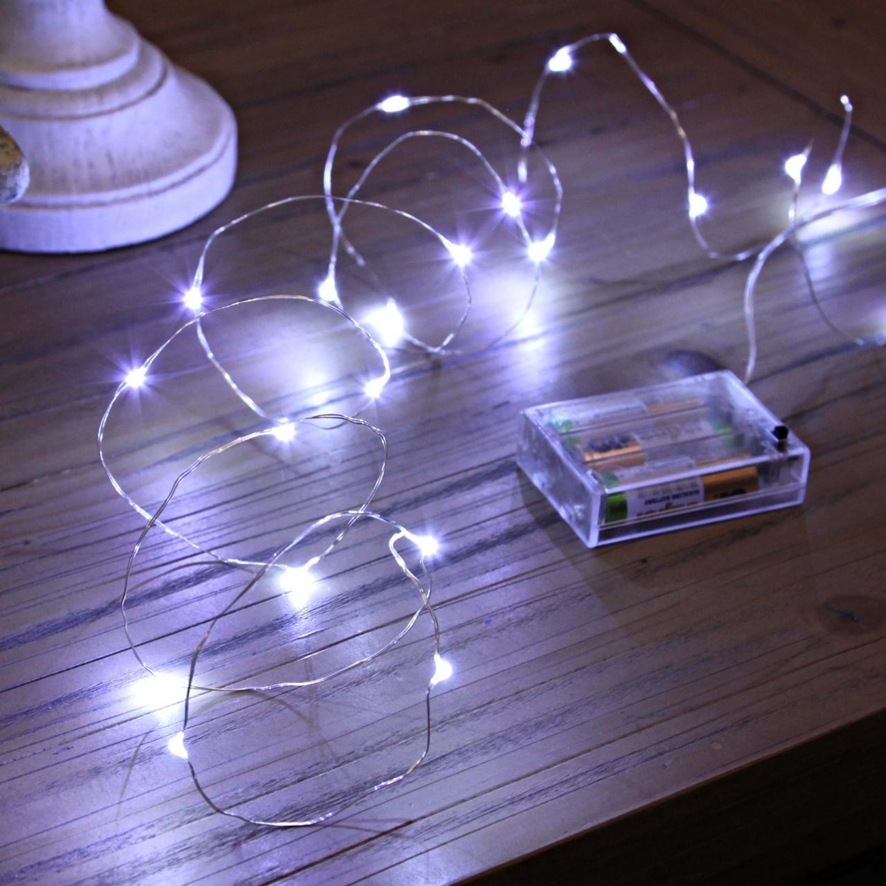 Гирлянда Нить на батарейках (2 метра, 20 LED), микронить на проволоке, гирлянда Роса, Капли росы, белый цвет