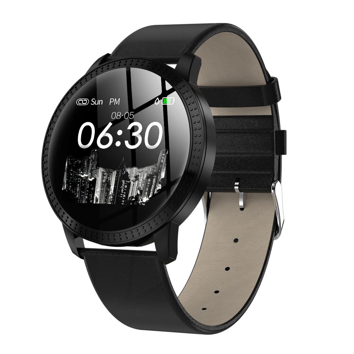 Фитнес браслет CF18 часы с тонометром давление крови цветной дисплей для iPhone и Android пульсометр черный