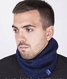Комплект шапка +шарф труба-бафф цвет синий, фото 2