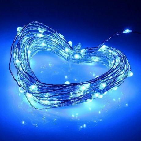 Гирлянда Нить на батарейках (2 метра, 20 LED), микронить на проволоке, гирлянда Роса, Капли росы, синий цвет