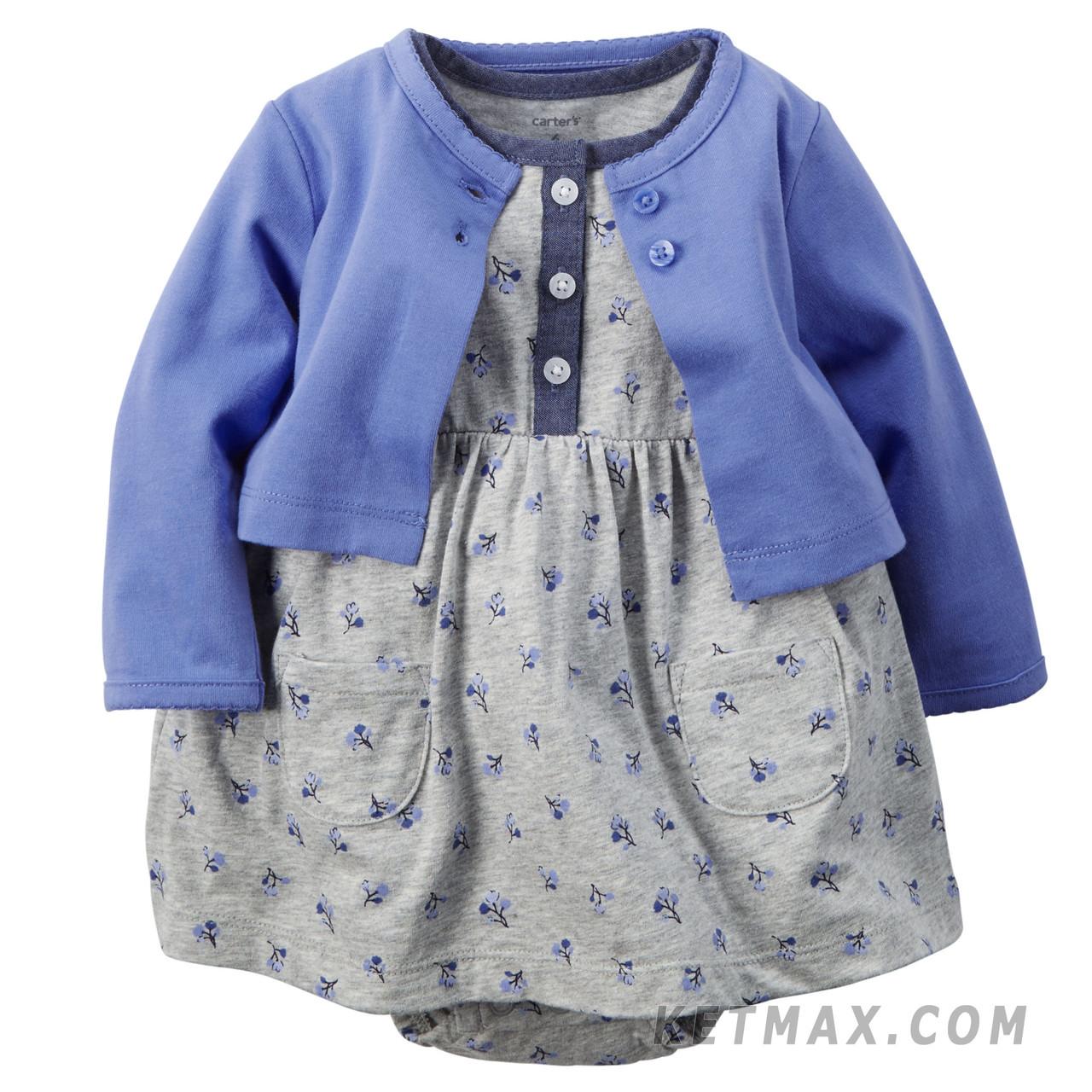 Комплект платье-боди и кардиган Carter's для девочки
