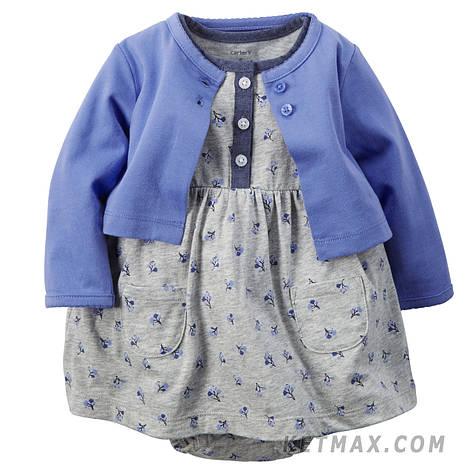 Комплект платье-боди и кардиган Carter's для девочки, фото 2