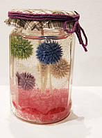 Свеча гелевая в декоративной банке с сухоцветами