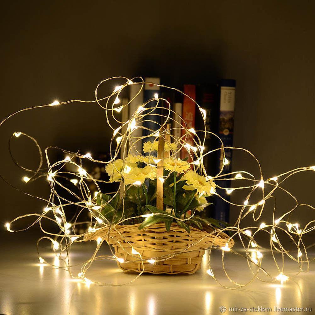 Гирлянда светодиодная нить Роса, Капли росы на проволоке 5 м, 50 LED на батарейках, теплый белый