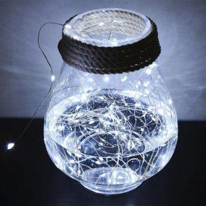 Гирлянда Нить на батарейках (5 метров, 50 LED), микронить на проволоке, гирлянда Роса, Капли росы, белый цвет
