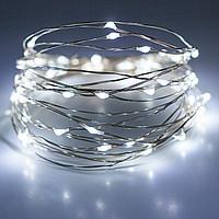 Гирлянда светодиодная нить Роса, Капли росы на проволоке 5 м, 50 LED на батарейках, белый цвет