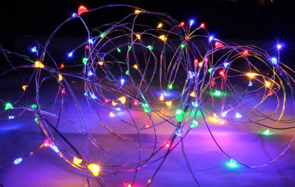Гирлянда Нить на батарейках (5 метров, 50 LED), микронить на проволоке, гирлянда Роса, Капли росы, мульти цвет