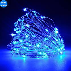 Гирлянда светодиодная нить Роса, Капли росы на проволоке 10 м, 100 LED на батарейках, синий цвет