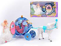 Карета з конем 28905, світло, звук, кінь ходить, музична карета з конем і лялькою, фото 1