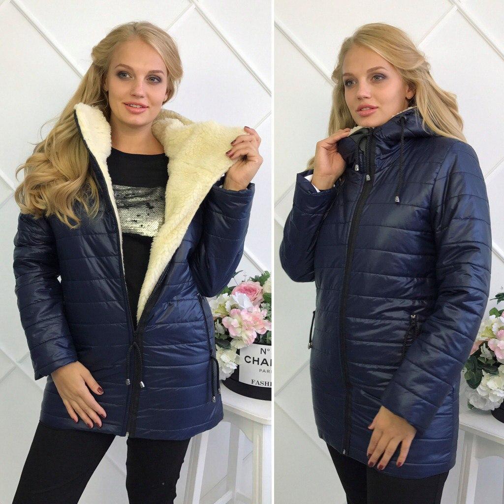 Зимняя женская куртка Стеганная плащевка на искусственной овчине Размер 50 52 54 Разные цвета