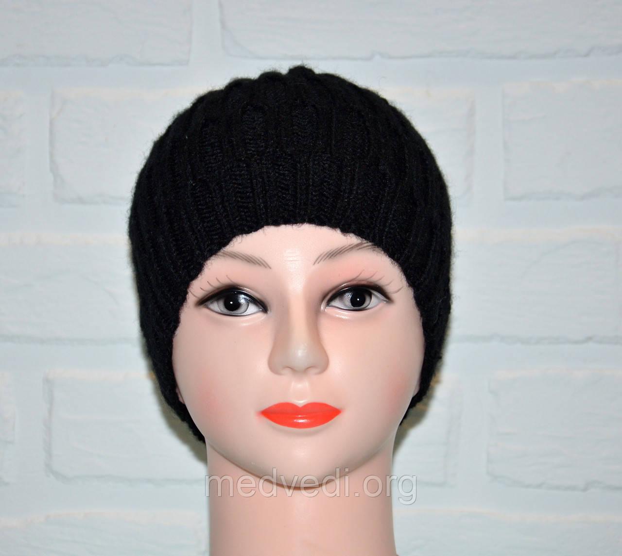 Черная женская шапка, шерсть, ручная работа