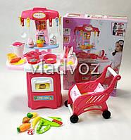 Детская игрушечная кухня со звуком, плита для девочки c тележкой 2 конфорки kitchen SET 38 предметов красная