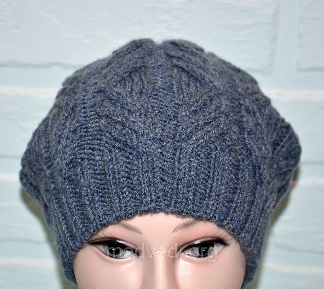 Серая женская шапка, вязка косы, без помпона, шерсть, ручная работа
