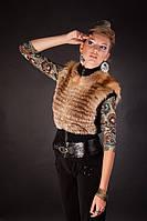 Жилетка жилет безрукавка из рыжей лисы на трикотаже Knitted fabric belted fox fur vest , фото 1