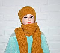 Комплект шапка с шарфом, вязаный, женский, шерсть, горчичного цвета, шерсть, ручная работа