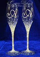 Свадебные бокалы с инициалами в стразах (Асти), фото 1