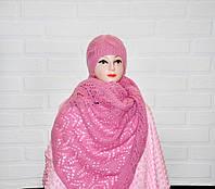 Розовый комплект шапка с ажурным шарфом, вязаный, женский, шерсть, ручная работа