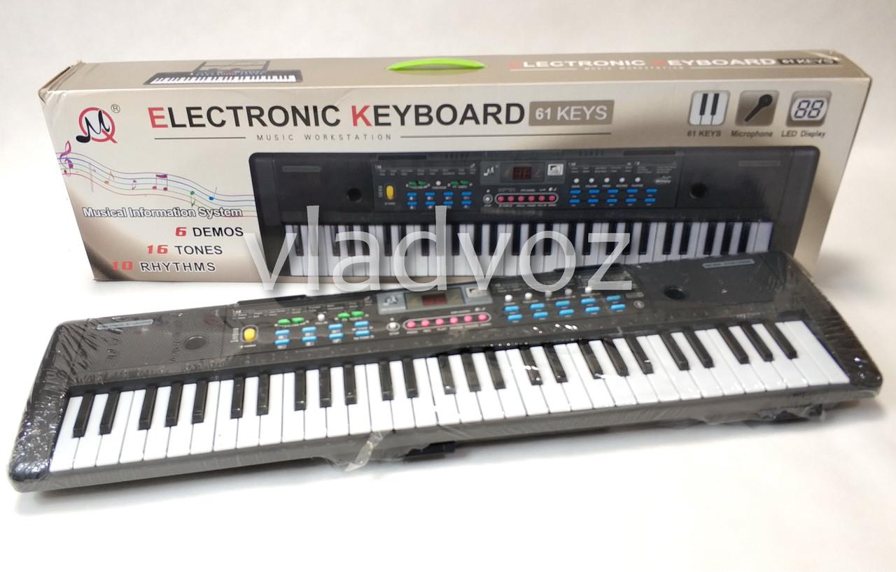 Детский синтезатор музыкальный пианино с микрофоном usb 61 клавиша работа от сети