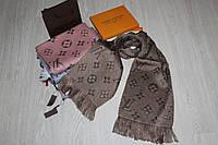 Теплый вязаный шарф Louis Vuitton Monogram Logomania коричневый