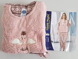 Женская теплая пижама микрофлис «Фламинго»