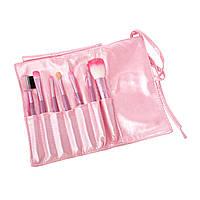 Кисти для макияжа розовые Качество 7 шт в чехле