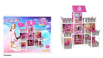 """Домик 66889 для кукольный3 этажа, балконы, мебель""""Домик для куклы7 комнат"""""""