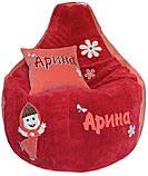 Кресло мешок, груша пуф бескаркасная мебель для детей с вышивкой, фото 4