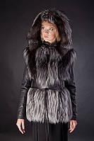 Меховая куртка-жилетка жилет из финской чернобурки со съемными кожаными рукавами и капюшоном Мод 11, фото 1