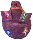 Безкаркасне дитяче крісло мішок, крісло-груша дитяче Фламінго, пуфи ігрові, фото 3