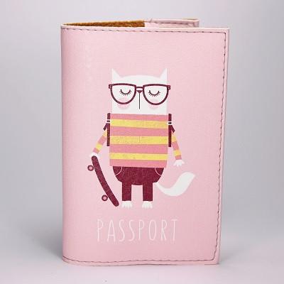 """Обложка на паспорт, розовая, """"Кот в очках"""", экокожа"""