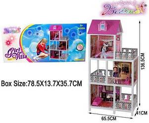 """Домик для кукол Барби 66892, кукольный домик с мебелью, куклы """" 3 этажа, 3 балкона + две"""""""