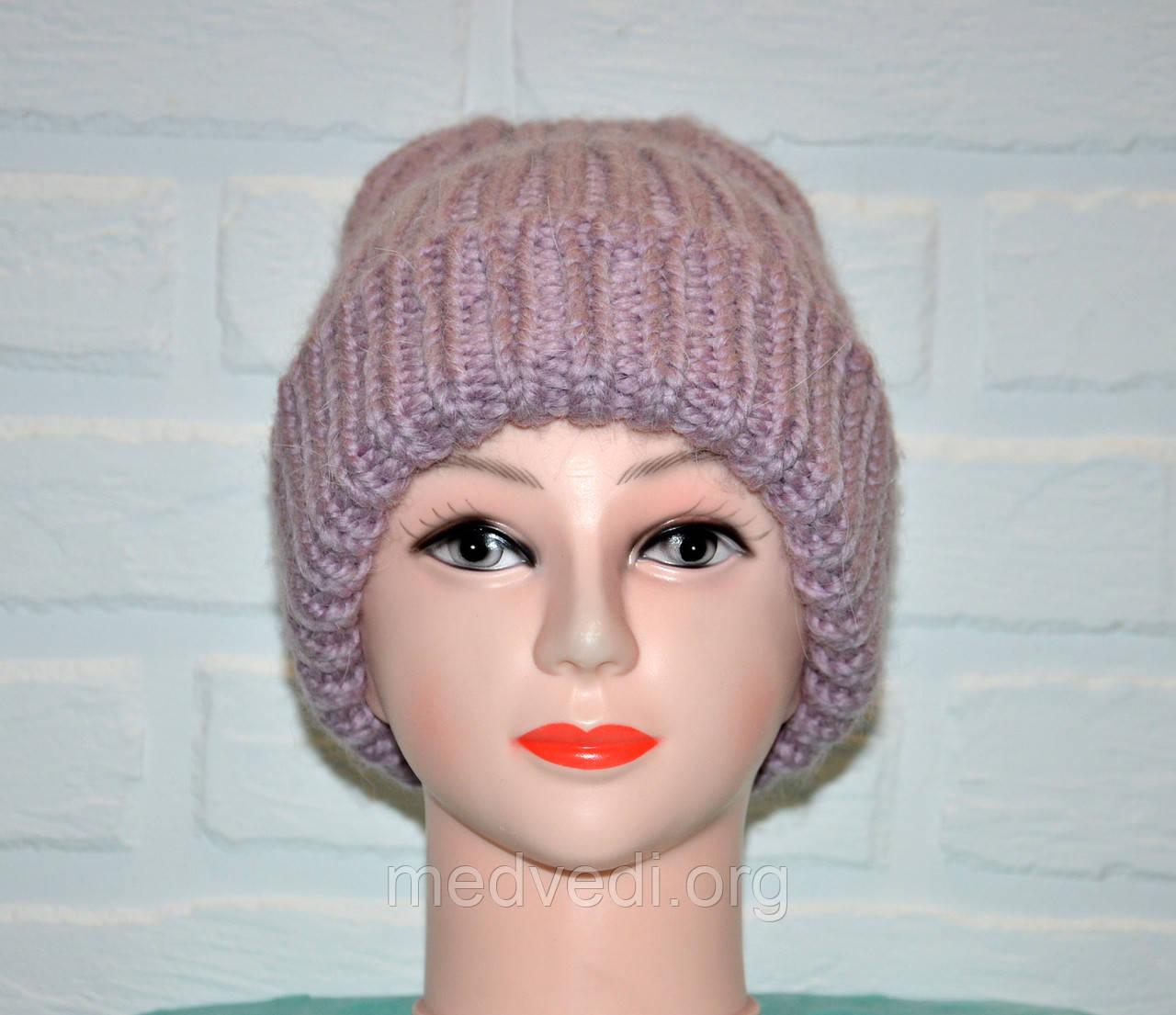 Сиреневая женская шапка, красивая вязка, шерсть, ручная работа