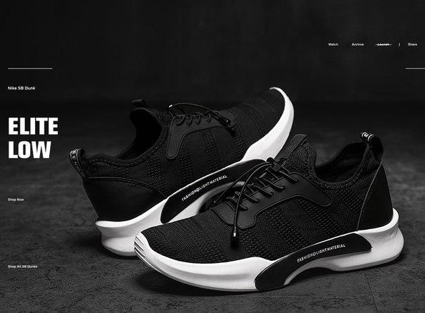 Мужские дышащие кроссовки черного цвета