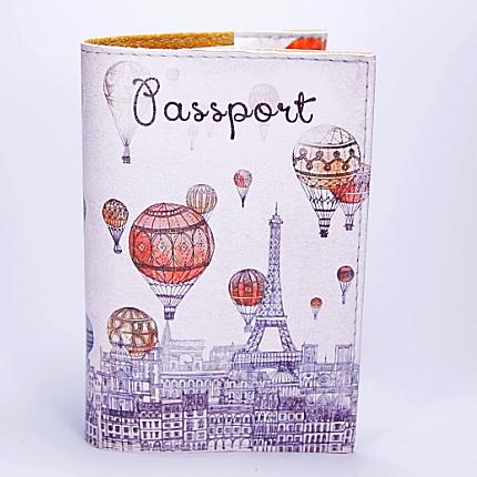 """Обложка на паспорт, """"Воздушные шары над Парижем"""", экокожа, фото 2"""