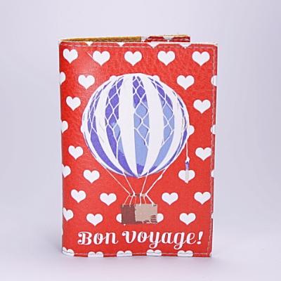 """Обложка на паспорт, красная, """"Воздушный шар"""", экокожа"""