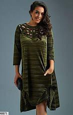 Платье женское нарядное бархатное цвет-серый размеры: 48-50,52-54,56,58-60,62, фото 3